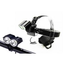 Solight nabíjacie LED cyklo a čelové svietidlo, 1100lm, 2x Cree XML-T6 LED, Li-Ion