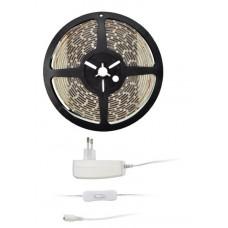 Solight LED svetelný pás s testrom, 5m, sada s 12V adaptérom, 4,8W/m, IP65, teplá biela
