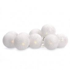 Solight LED reťaz vianočné gule bavlnené, 10LED, 1m, 2x AA, IP20